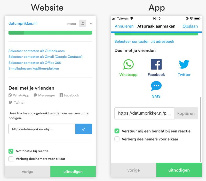 Whatsapp opties website en app